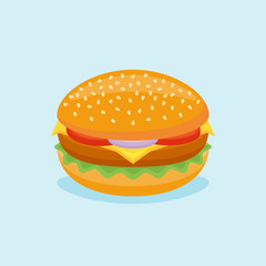 Burger isolated on blue background. Hamburger with lettuce, tomato, onion and cheese. Vector illustration.