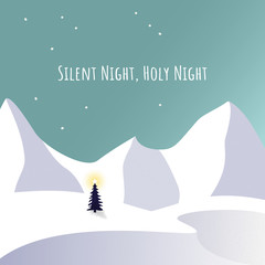 Christmas tree in snow and silent, holy night text