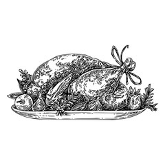 Roasted turkey on platter with fruits. Sketch. Engraving style. Vector illustration.