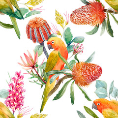 Foto op Canvas Papegaai Watercolor tropical parrots pattern