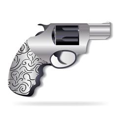 Gun silver swirly decoration icon logo