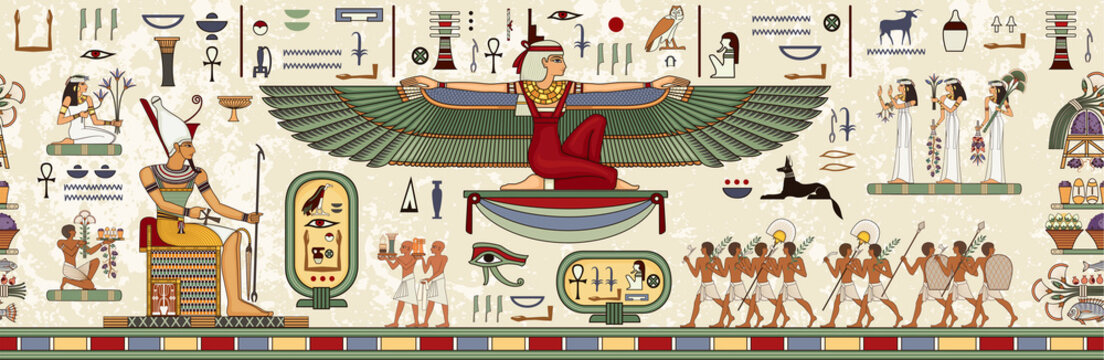 Ancient egypt background.Egyptian hieroglyph and symbol