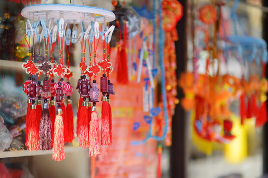 Beautiful red chinese lanterns and decorations in Chinatown, New York City