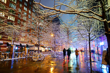 Beautiful New York street after massive snowfall at winter night