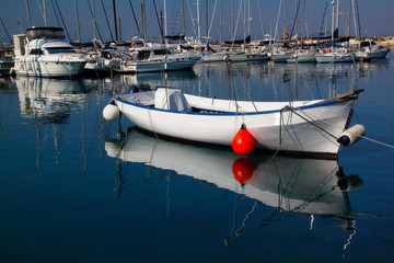View of traditional Sicilian harbour, Syracuse Italy