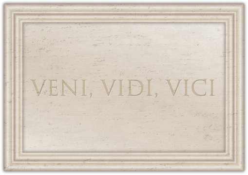 Veni Vidi Vici, latin phraseof Cesar emperator on the ancient marble plate