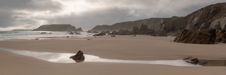 Impressive Rock Formations at a Beach on Marloes Peninsula,  Pembrokeshire, Wales, UK
