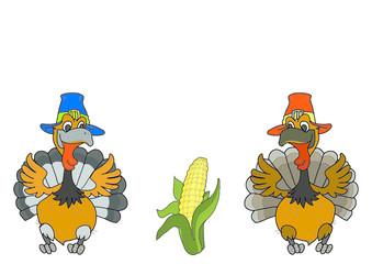 Two turkey corn. Thanksgiving Day. Illustration isolate on white background.