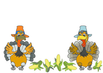 Two turkey corn. Thanksgiving Day. Illustration isolate on white background.