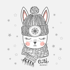 Cute bunny with knitted cap, scarf. Winter time. Vector illustration design for t shirt graphics, fashion prints, posters and other uses
