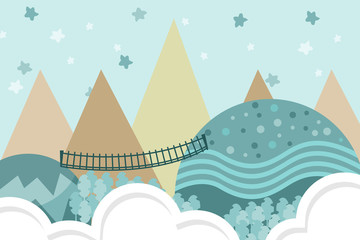 Kids room wallpaper with graphic illustration stairs in forest, hill, and air balloon. Can use for print on the wall, pillows, decoration kids interior, baby wear, shirts, and greeting card