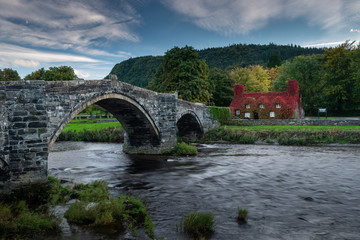 Pont Fawr bridge crossing the river Conwy at Llanrwst in Wales, UK