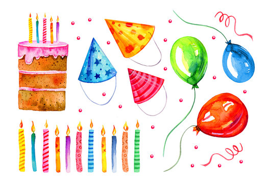 Set of stylized birthday elements. Hand drawn cartoon candles, cake, balloons and party hats. Watercolor sketch illustration
