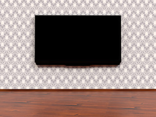 Modern LED TV on a wall, 3D rendering