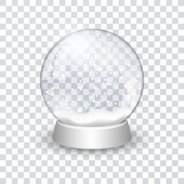 snow globe ball realistic new year chrismas object isolated on transperent background with shadow, vector illustration