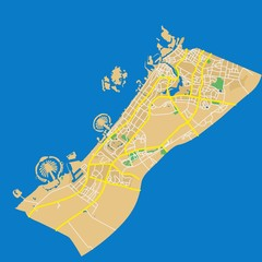 Detailed flat design map of the city in the Arab Emirates - Dubai