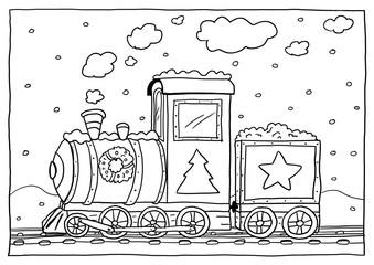 Ausmalbild Weihnachts-Lok
