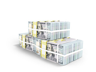 Three packs of hundred dollar bills in pyramid 3d render on white background with shadow