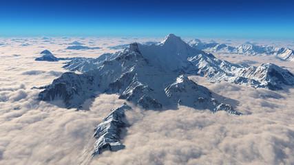 Berggipfel in den Wolken