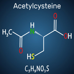 Acetylcysteine (N-acetylcysteine, NAC) drug molecule. Structural chemical formula and molecule model on the dark blue background