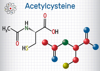 Acetylcysteine (N-acetylcysteine, NAC) drug molecule. Structural chemical formula and molecule model. Sheet of paper in a cage