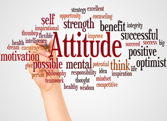 Attitude word cloud and hand with marker concept Wall mural
