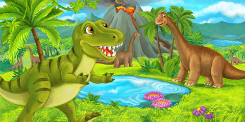 Photo sur Plexiglas Dinosaurs cartoon scene with happy dinosaur tyrannosaurus rex near erupting volcano and diplodocus - illustration for children
