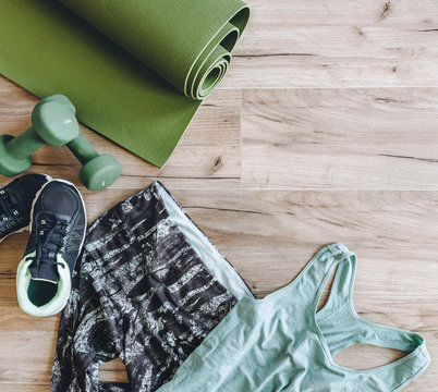 Background with sport clothes and equipment