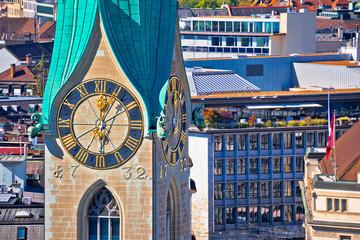 Zurich church clock tower view
