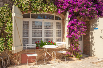 Window with Bougainvillea in Grimaud-Village