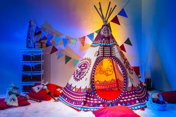 Children's room. Indians. Playroom for children. Needle. TIPI.