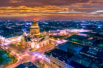 Saint Petersburg. St. Isaac's Cathedral from a height. Night Petersburg. Streets of Petersburg. Russia. St. Isaac's Square. Architecture of St. Petersburg.