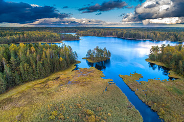 Wall Mural - Forest lake from a height. Wild nature. An island in the middle of the lake. Forest. Lake with islands.