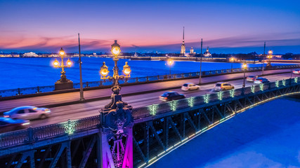 Saint Petersburg. Neva River. Trinity Bridge. Petersburg in the winter. Russia. Peter-Pavel's Fortress. Evening Petersburg. Architecture of Russia. Bridges of St. Petersburg. Cities of Russia.
