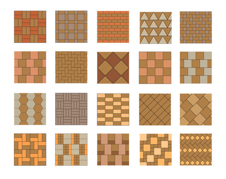 Set of vector paving tiles and bricks patterns.