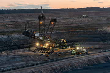 Hambach coal mines at night