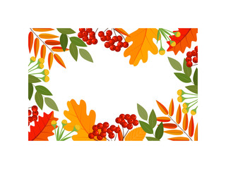 Autumn leaves frame decor, included rowan berries bunch, oak leaf, maple leaf, acorns. Vector illustration isolated on white for your wedding invitation, greeting card, mid season sale banner