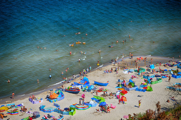 Baltic beach from cliff summer time
