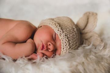 newborn baby photography, rabbit concept