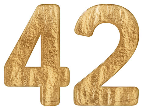 Numeral 42, forty two, isolated on white background, 3d render