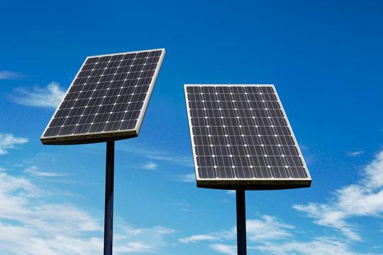 Small solar panels against a blue sky
