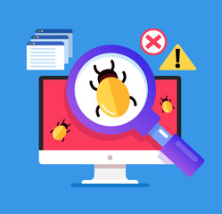 Magnifier searching malware bug. Computer internet error virus concept. Vector flat cartoon isolated graphic design illustration