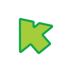 letter k arrow up symbol vector