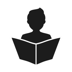 Мan read a book simple icon. Education symbol. Instruction manual icon – vector for stock