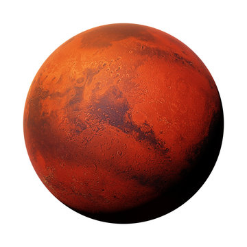planet Mars, the red planet isolated on white background