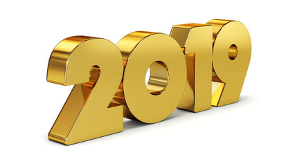 New 2019 year golden isolated on white background. 3D rendered.