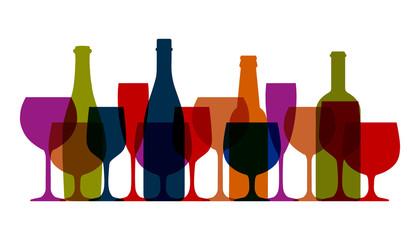 Fototapeta Set wineglass and bottles icon, logo, sign, emblem – stock vector obraz