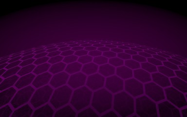 Multilayer sphere of honeycombs, red on a dark background, social network, computer network, technology, global network. 3D illustration