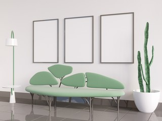 Mock up poster Interior, sofa in the form of a tree, on a white background  3D rendering, 3D illustration