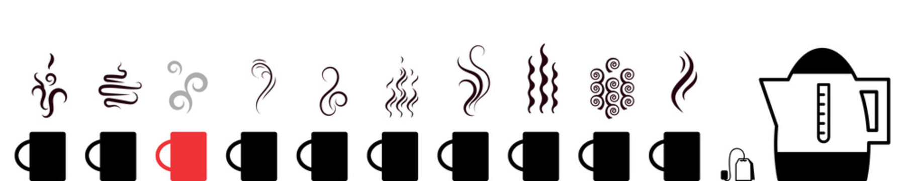 Collection of hot drinks icon with steam symbols isolated